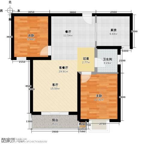 珠峰国际花园三期2室1厅1卫1厨94.00㎡户型图