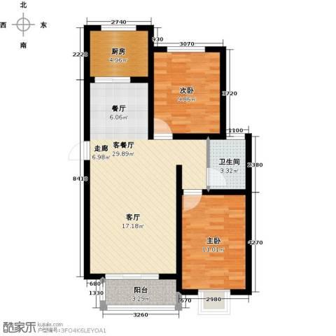 紫苑二期2室1厅1卫1厨91.00㎡户型图