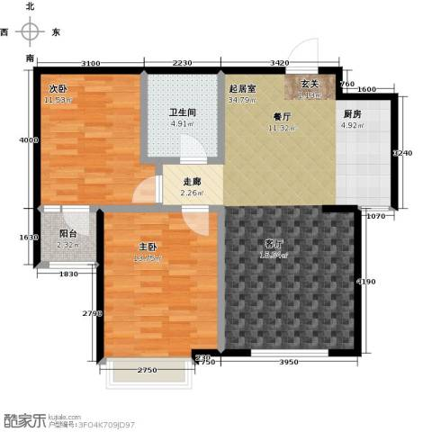 昊宇・山海湾2室0厅1卫0厨80.00㎡户型图