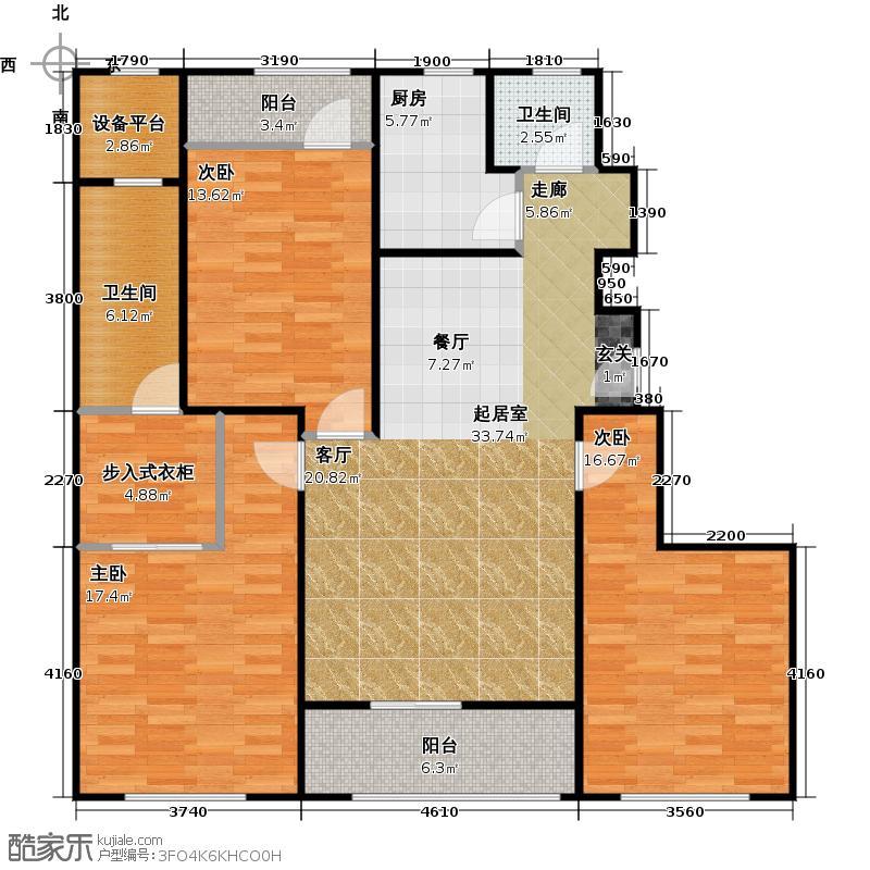 浦江华侨城观景公寓B户型3室2卫1厨