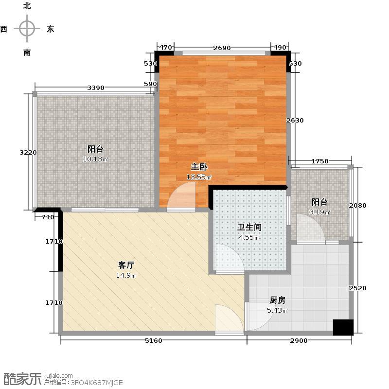 碧桂园清泉城56.37㎡【花园里】5号、9号楼一至二层05单元户型1室1厅1卫1厨