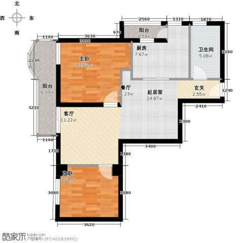 荟锦2室0厅1卫1厨89.00㎡户型图