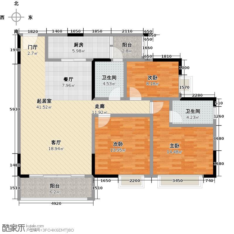 广州时代倾城115.00㎡1、5栋--01号房户型3室2厅2卫