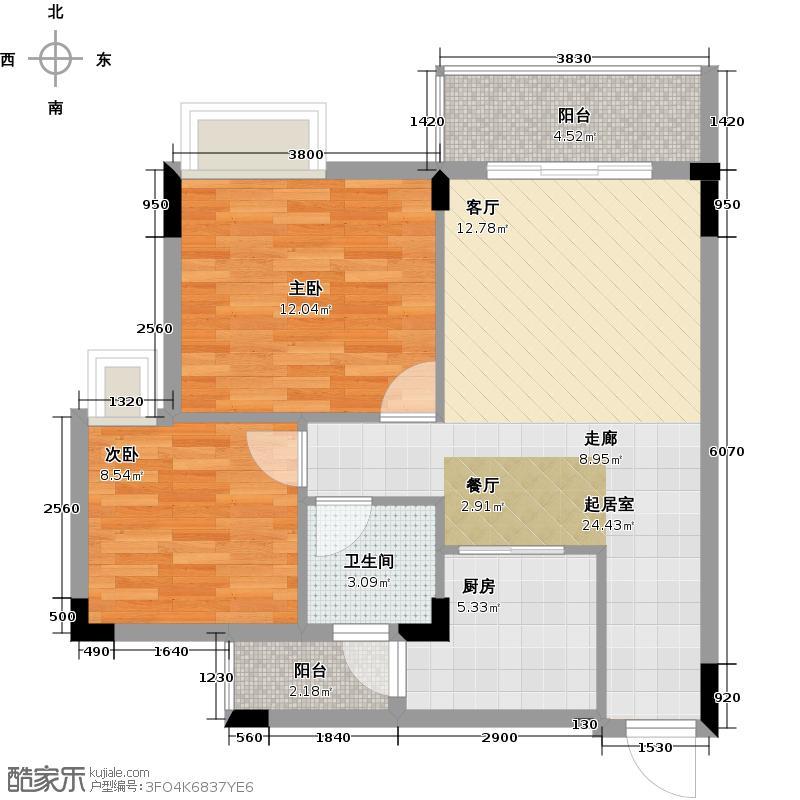 友田碧云轩73.00㎡1~5栋2~7层03户型2室2厅1卫