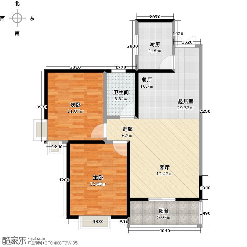 恒广国际景园B1户型2室1卫1厨