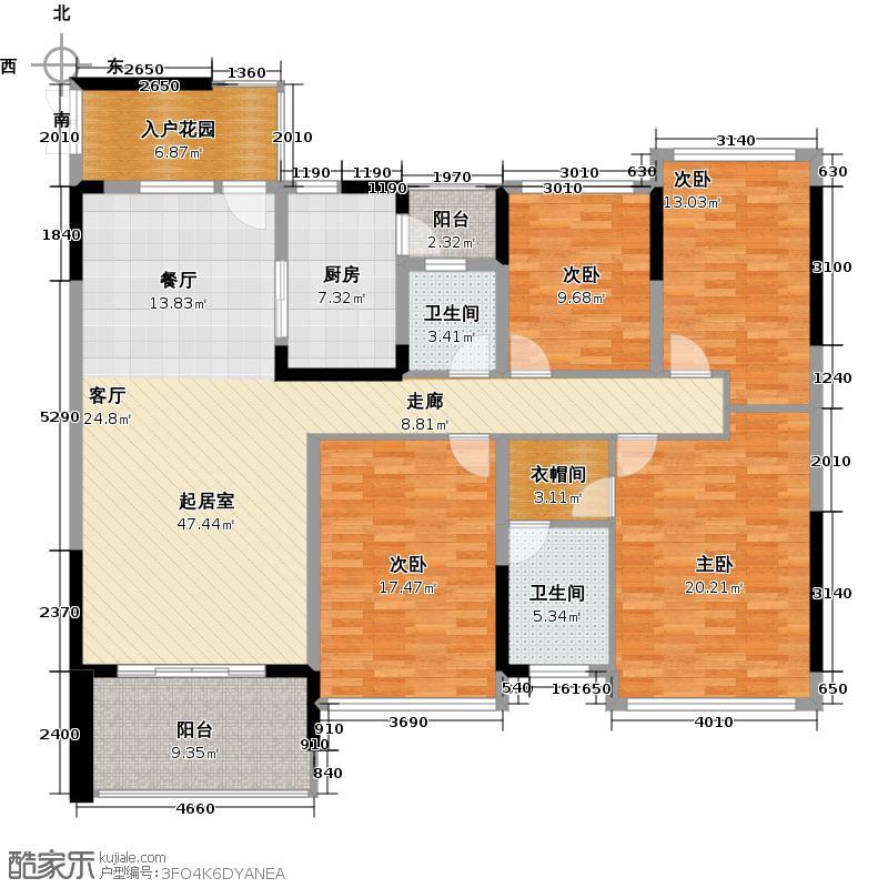 深房传麒山160.00㎡4E型4房2厅2卫户型4室2厅2卫