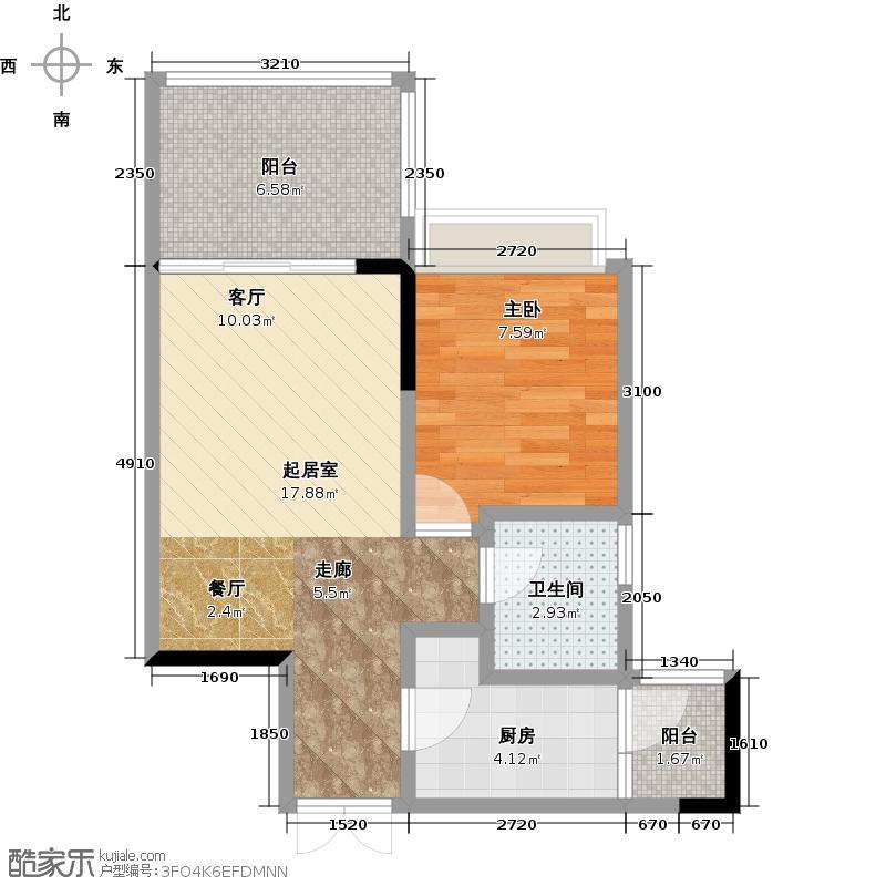 山海阳光云景47.29㎡独栋B单元A1室户型1室1卫1厨