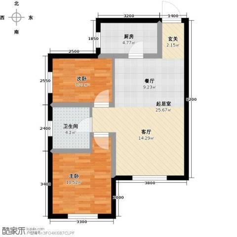 美震瑞景时代2室0厅1卫1厨75.00㎡户型图