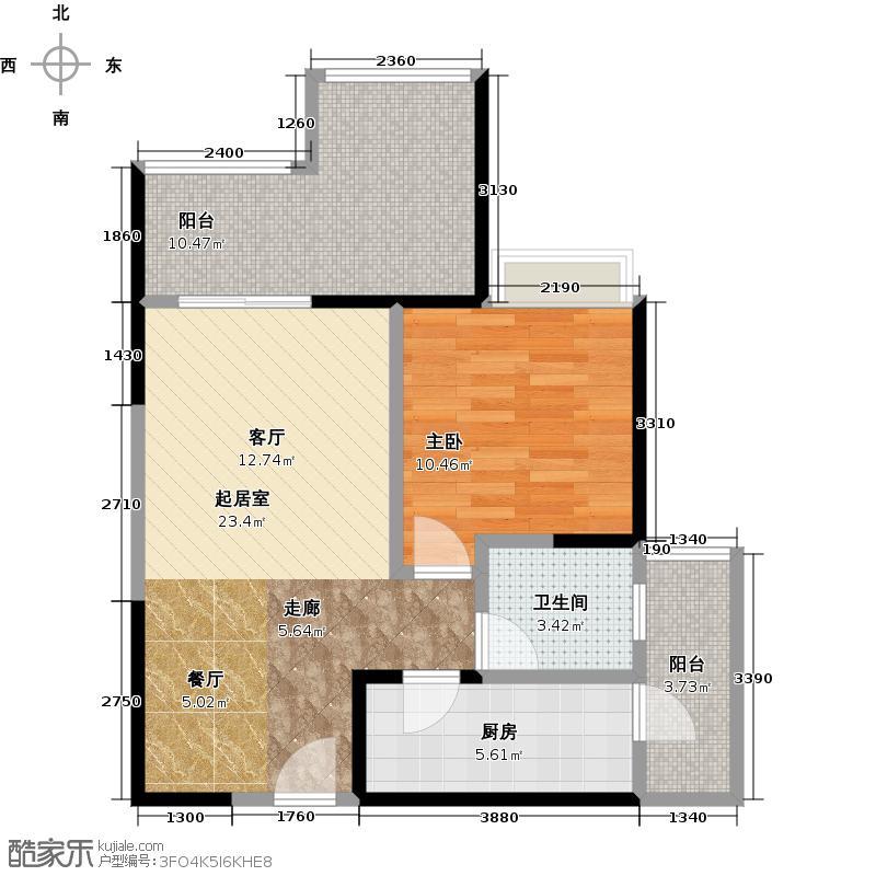 泽科港城国际63.45㎡泽科港城国际户型图1/2/3号楼D-1户型,楼层5-32层,套内约61.62平米,一室两厅一卫(2/2张)户型1室1厅1卫1厨