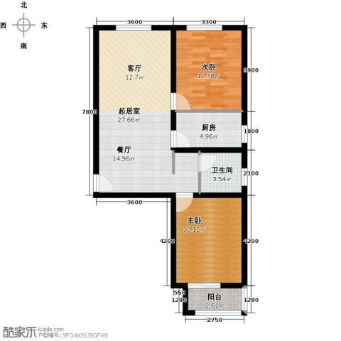 龙强印象2室0厅1卫1厨90.00㎡户型图