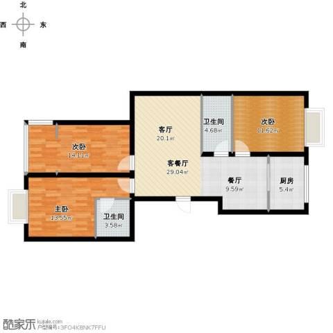 尚海湾豪庭3室1厅2卫1厨116.00㎡户型图