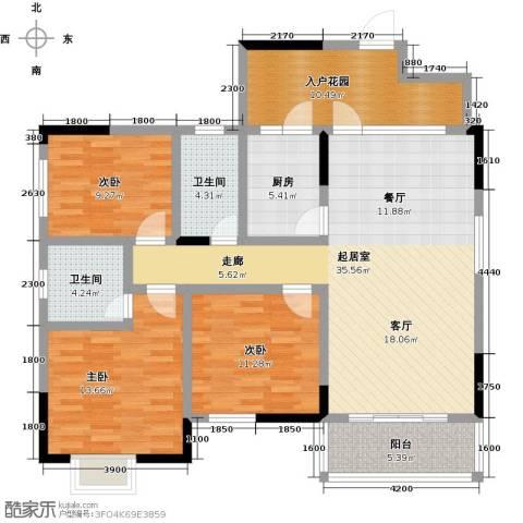 中建康城3室0厅2卫1厨124.00㎡户型图