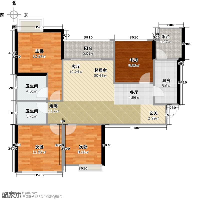 中铁银杏广场A2户型4室2卫1厨