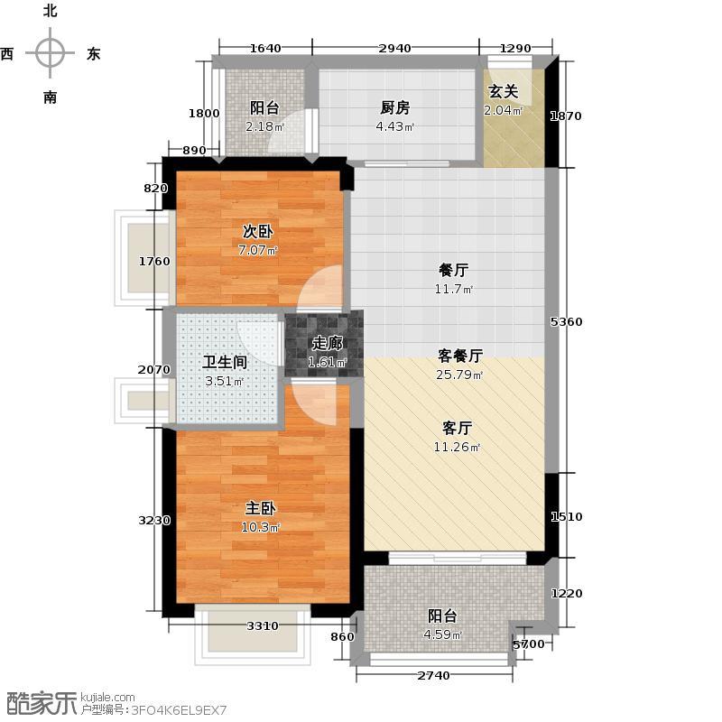广州保利公园九里77.49㎡E3-A栋标准层02户型2室2厅1卫