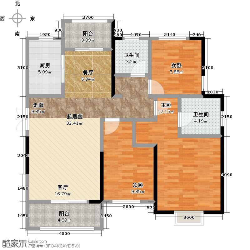 卧龙丽景湾三期128.00㎡1J户型 3室2厅2卫户型3室2厅2卫