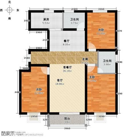 紫苑二期3室1厅2卫1厨130.00㎡户型图