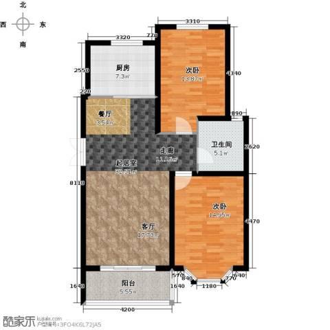 西城国际2室0厅1卫1厨93.00㎡户型图