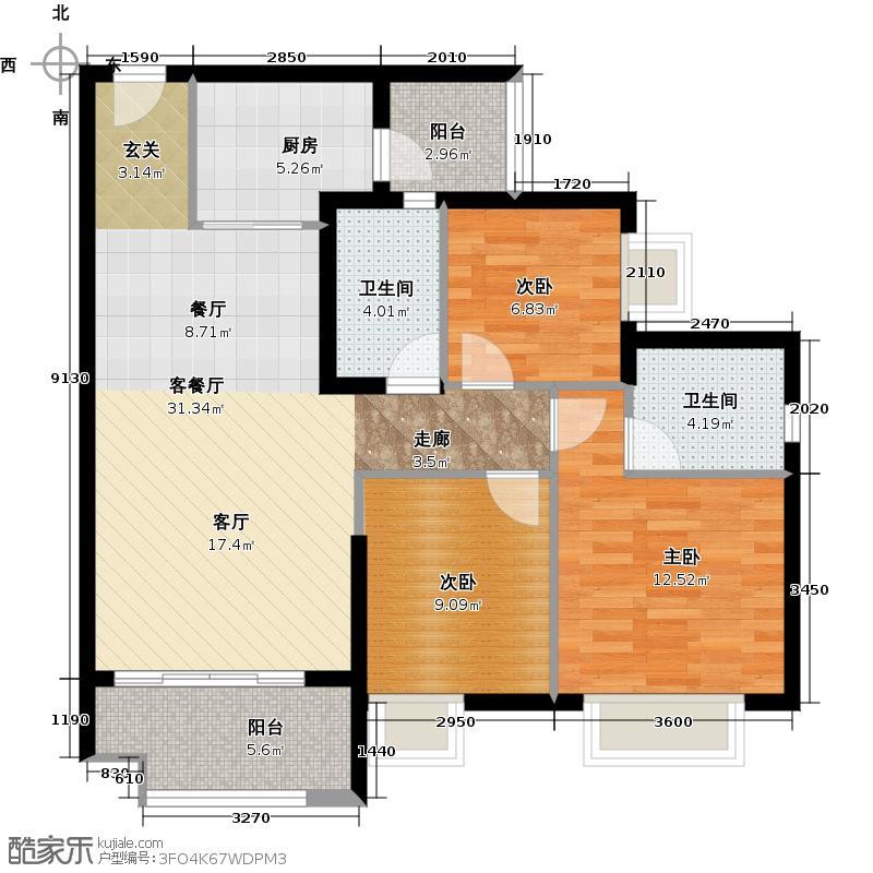 广州保利公园九里107.00㎡D8栋A梯标准层01户型3室2厅2卫