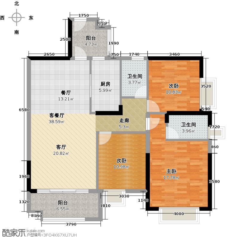 广州保利公园九里121.73㎡E3-B栋标准层01户型3室2厅2卫