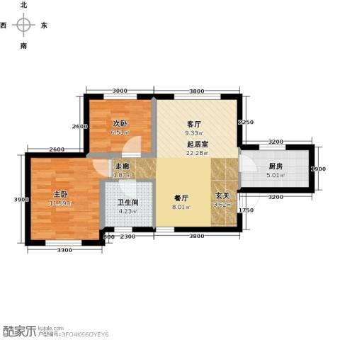 美震瑞景时代2室0厅1卫1厨71.00㎡户型图