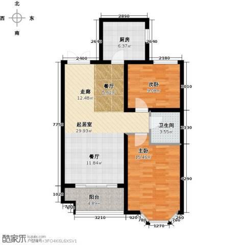 西城国际2室0厅1卫1厨82.00㎡户型图