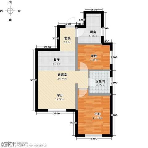 美震瑞景时代2室0厅1卫1厨76.00㎡户型图