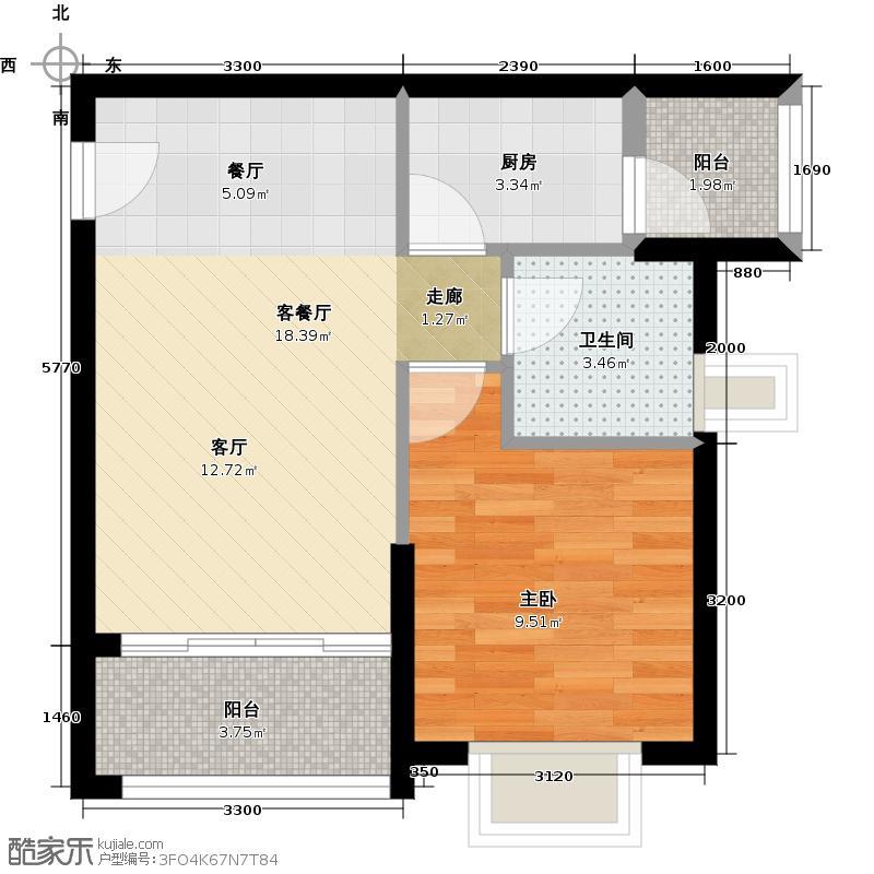 广州保利公园九里55.96㎡D5栋标准层01户型1室2厅1卫