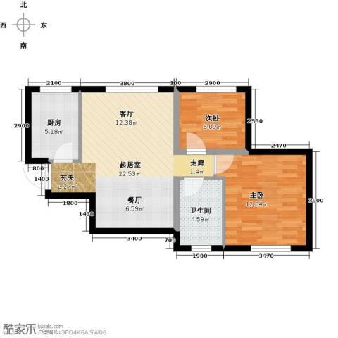 美震瑞景时代2室0厅1卫1厨72.00㎡户型图