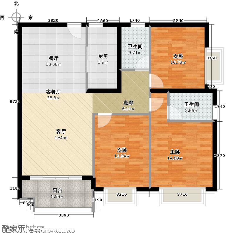 广州保利公园九里124.00㎡D8栋B梯标准层01户型3室2厅2卫