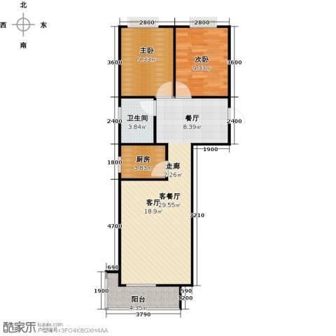 香城丽景・悦动社区2室1厅1卫1厨87.00㎡户型图