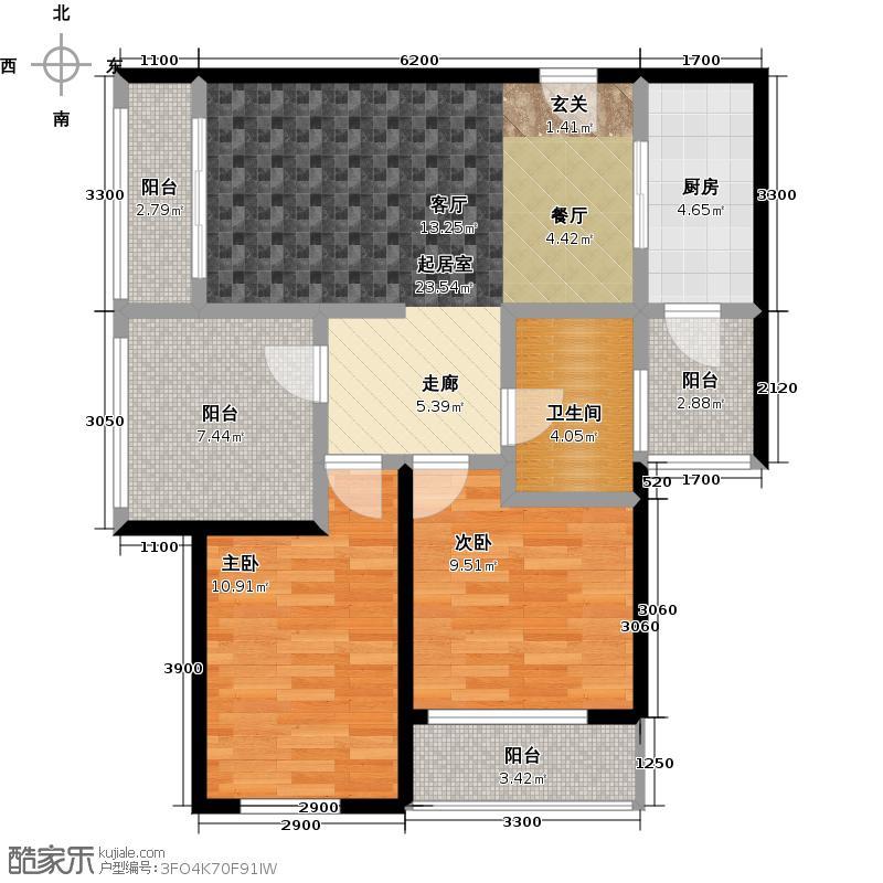 海逸广场户型2室1卫1厨