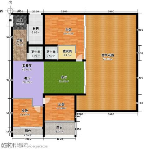中和龙沐湾・海润源3室1厅2卫1厨198.48㎡户型图