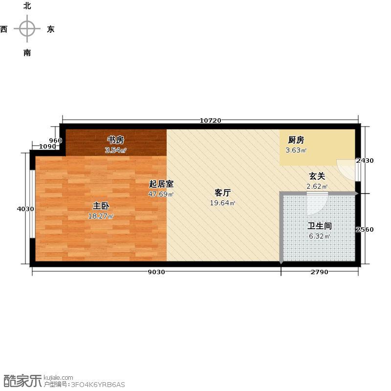 大连开发区万达广场57.85㎡J户型1室1厅1卫