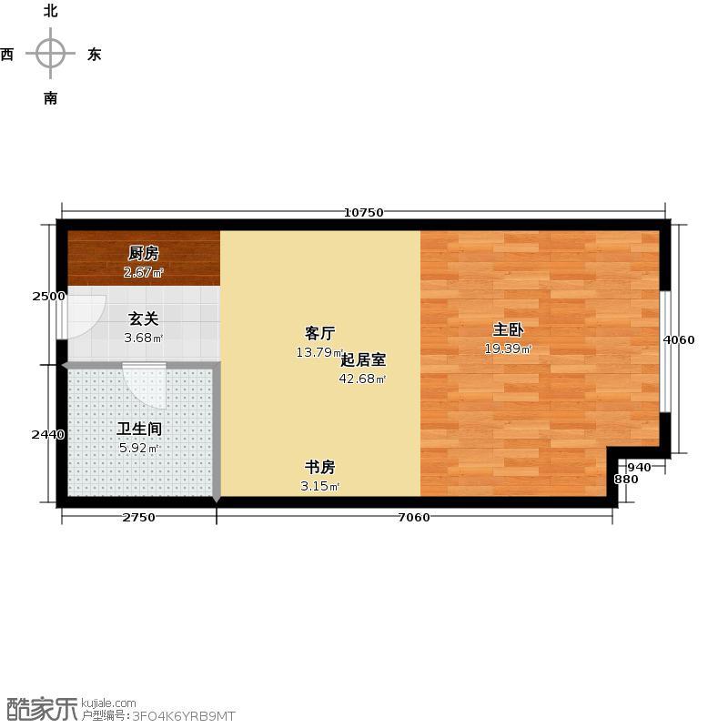 大连开发区万达广场52.74㎡E户型1室1厅1卫
