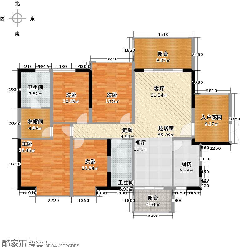 深房传麒山151.00㎡8-10栋B单元4B型户型4室2厅2卫