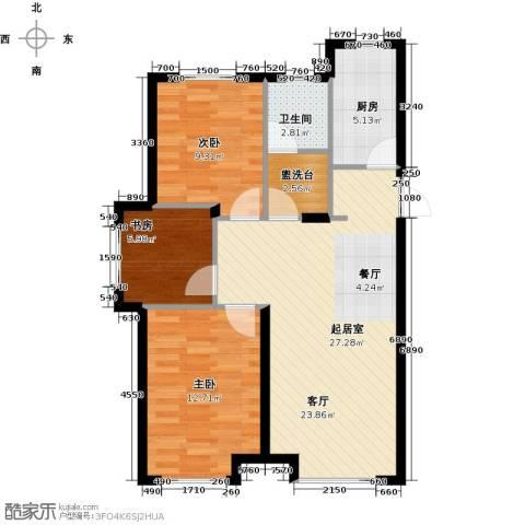 中国铁建・青秀蓝湾3室0厅1卫1厨93.00㎡户型图