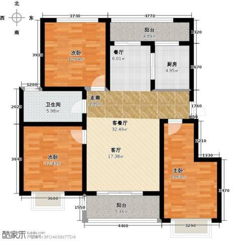 阳光・清城3室1厅1卫1厨106.00㎡户型图
