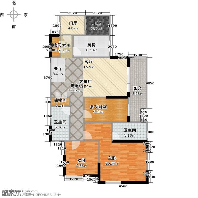泰然南湖玫瑰湾126.00㎡F户型2室1厅2卫1厨