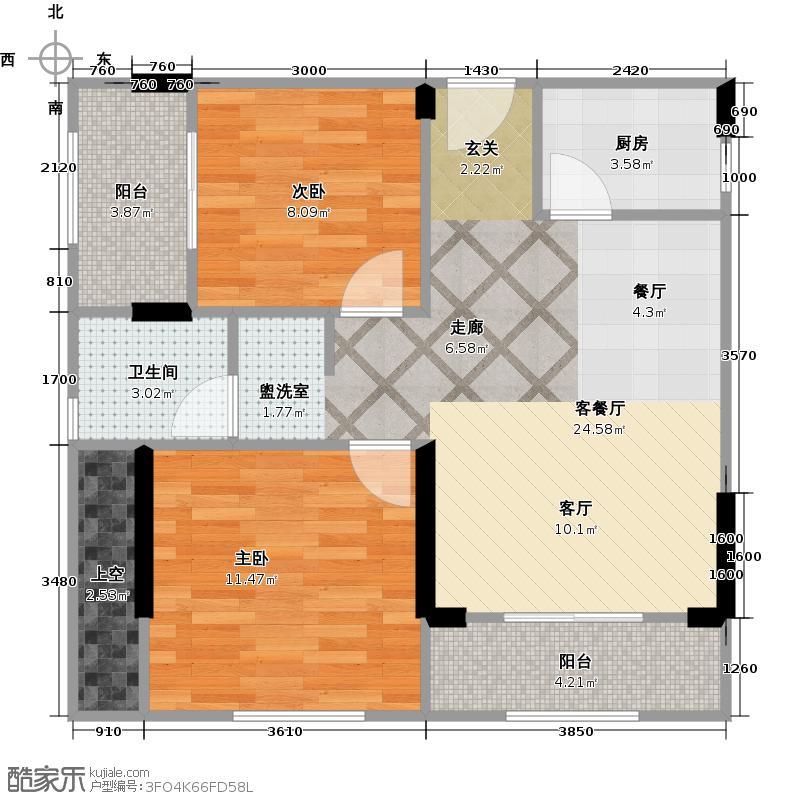 泰然南湖玫瑰湾73.00㎡二期K6户型2室1厅1卫1厨