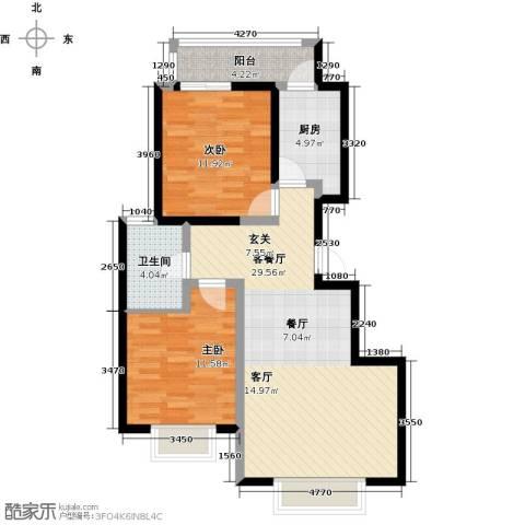 阳光・清城2室1厅1卫1厨76.00㎡户型图