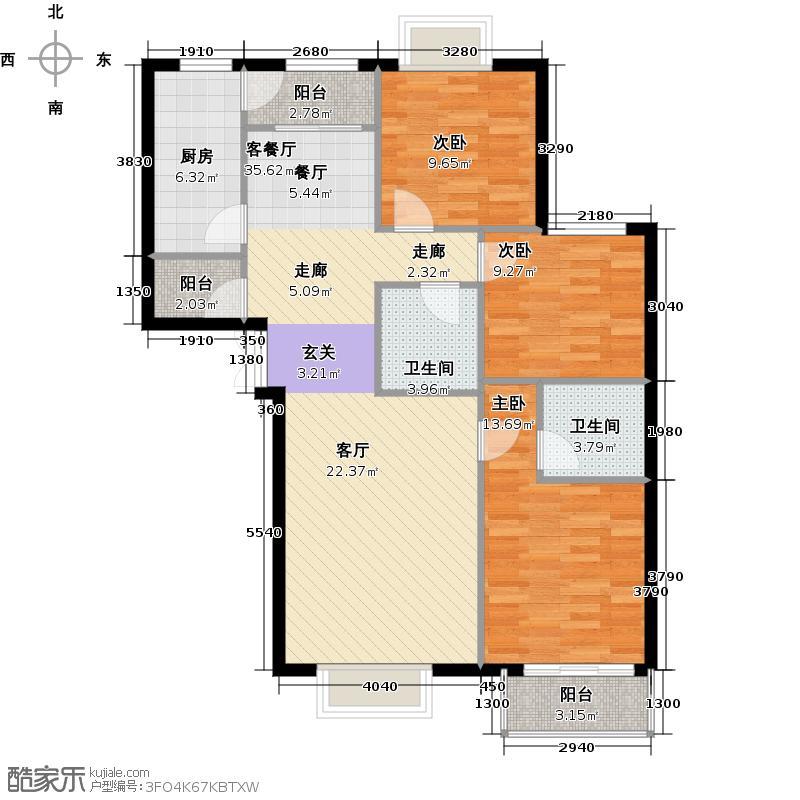 上林溪南区E1户型3室1厅2卫1厨