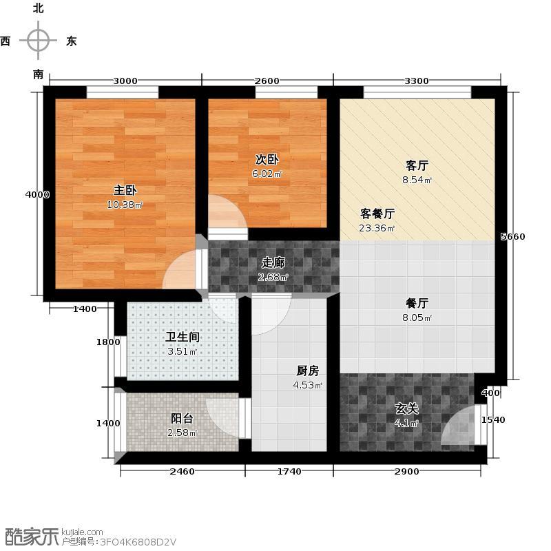 幸福里户型2室1厅1卫1厨