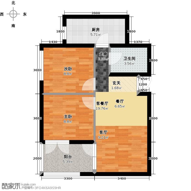 中御公馆2号楼B2-1户型2室2厅1卫