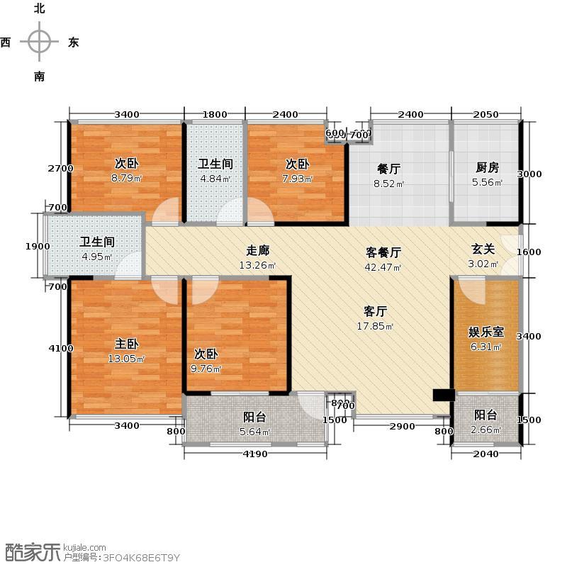 阅山公馆120.00㎡1-2栋A-B户型奇数层户型5室2厅2卫