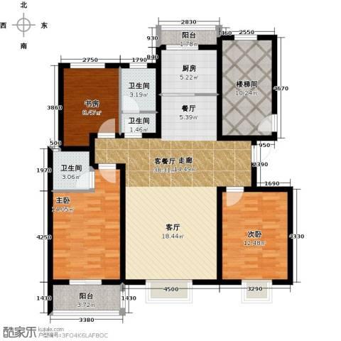 金桥天海湾3室1厅3卫1厨136.00㎡户型图
