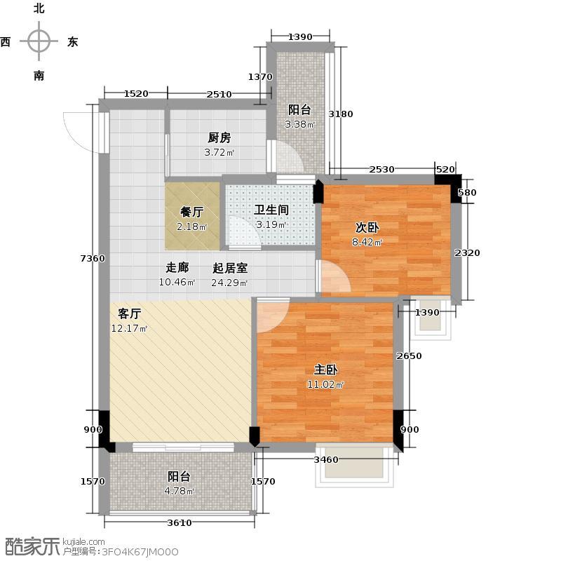友田碧云轩71.00㎡7~11栋2~10层01户型2室2厅1卫