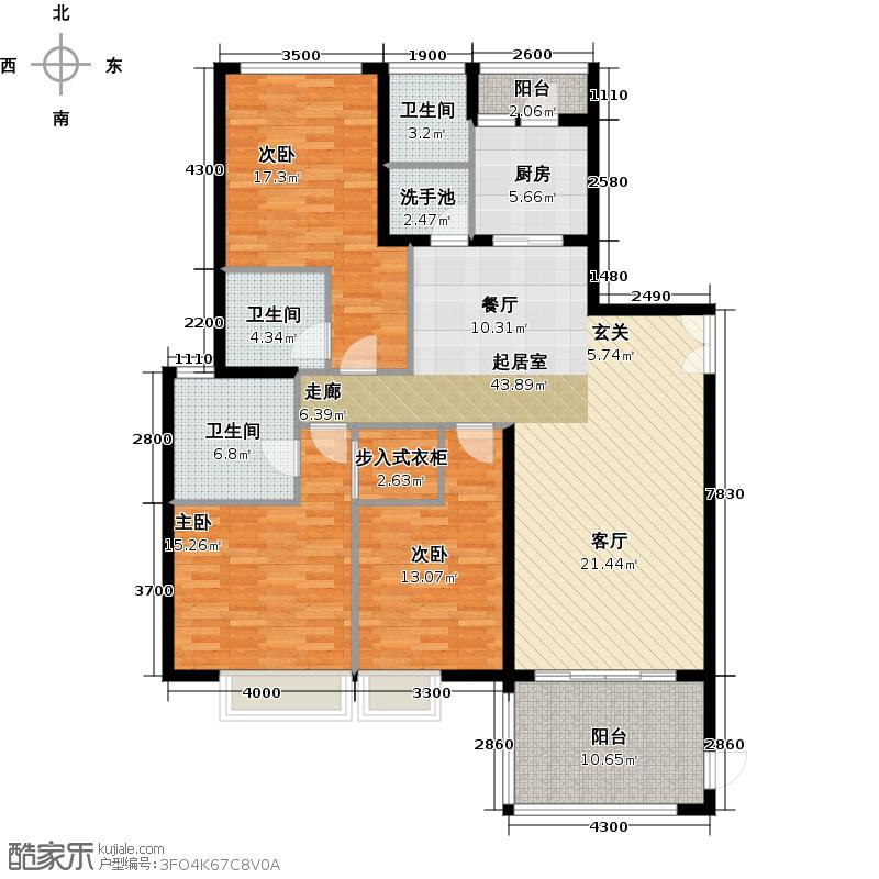 东方新世界三期熹园组团熹韵栋标准层02单位户型3室3卫1厨