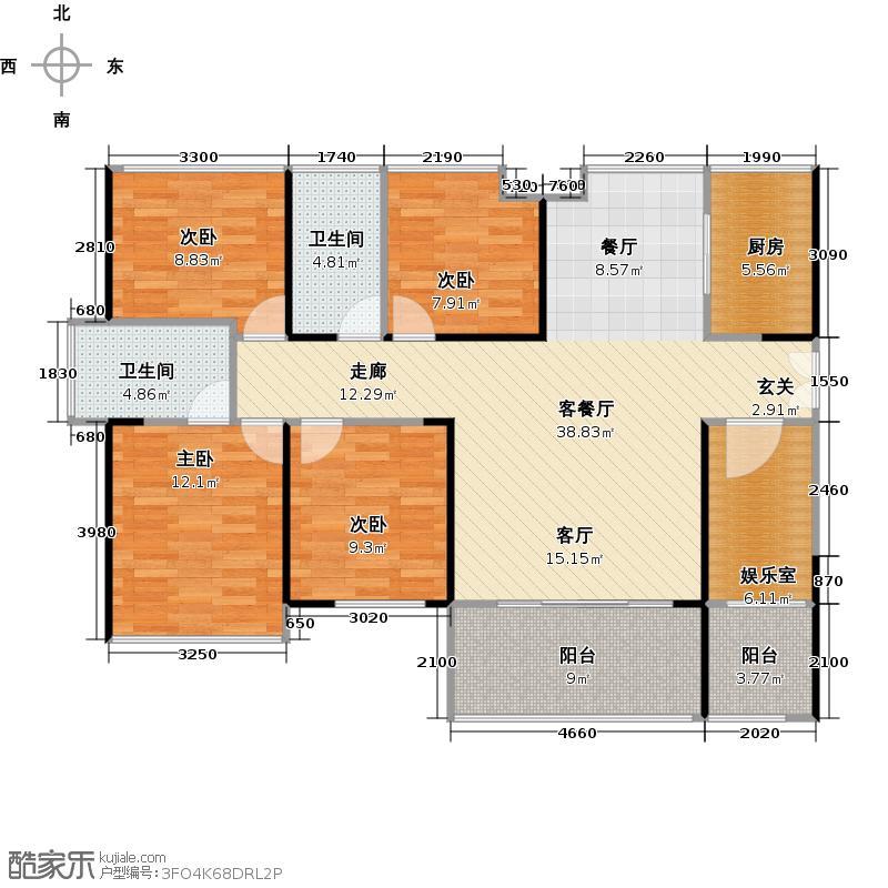 阅山公馆120.00㎡1-2栋A-B户型偶数层户型5室2厅2卫