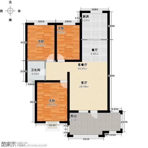 金桥天海湾3室1厅1卫1厨121.00㎡户型图