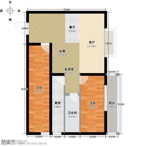 龙海南苑2室0厅1卫1厨89.00㎡户型图